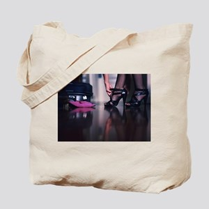 Young lady in heels and suitcase color fi Tote Bag