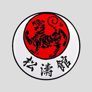 """Rising Sun Tiger & Shotokan Kanji 3.5"""" Button"""