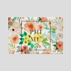 Phi Mu Floral Rectangle Magnet
