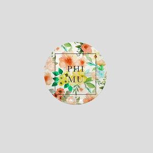 Phi Mu Floral Mini Button