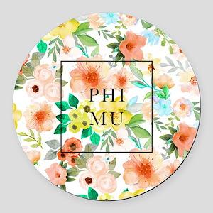 Phi Mu Floral Round Car Magnet