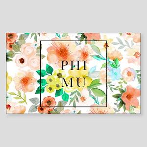 Phi Mu Floral Sticker (Rectangle)