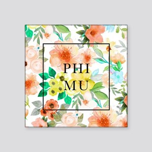"Phi Mu Floral Square Sticker 3"" ..."