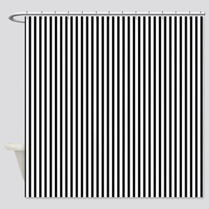 Thin black stripes Shower Curtain