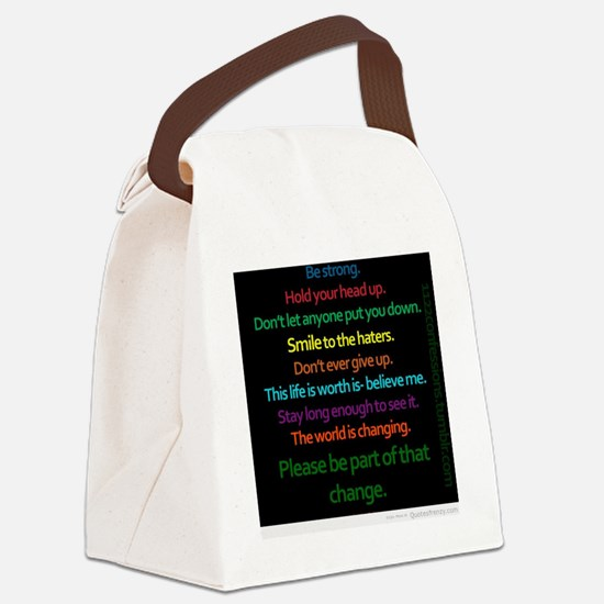 Positive Quotes Canvas Lunch Bag