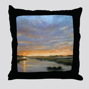 Chincoteague Marsh Sunrise Throw Pillow