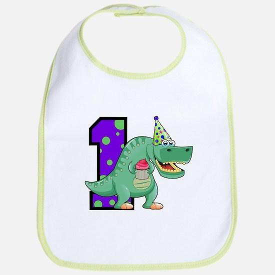 1st Birthday T-Rex Bib
