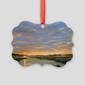 Chincoteague Marsh Sunrise Picture Ornament