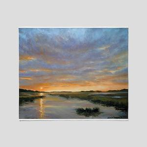 Chincoteague Marsh Sunrise Throw Blanket
