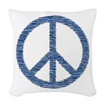 Blue Peace Sign Woven Throw Pillow