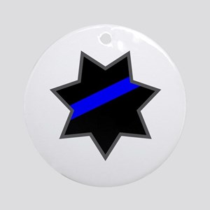 Blue Line Badge 4 Ornament (Round)