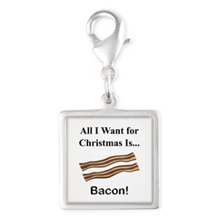Christmas Bacon Silver Square Charm