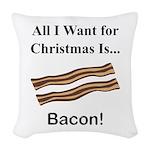 Christmas Bacon Woven Throw Pillow