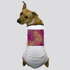 Sparkling Red & Yellow Peacock Dog T-Shirt