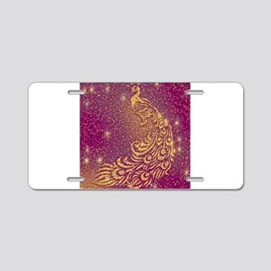 Sparkling Red & Yellow Peac Aluminum License Plate