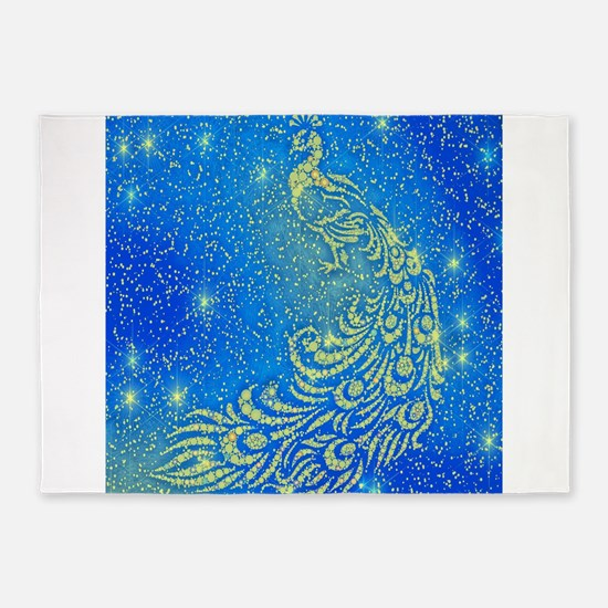 Sparkling Blue Yellow Pea 5 X7 Area Rug