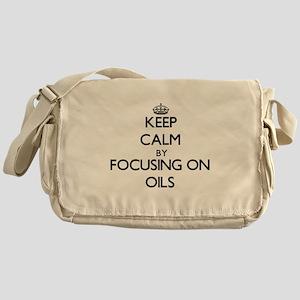 Keep Calm by focusing on Oils Messenger Bag