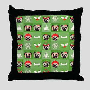 Christmas Pugs, Bones, Mistletoe Throw Pillow