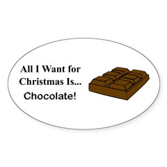 Christmas Chocolate Sticker (Oval 10 pk)