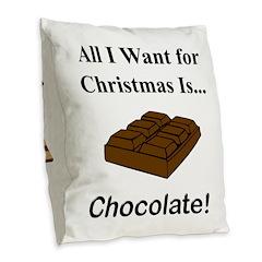 Christmas Chocolate Burlap Throw Pillow