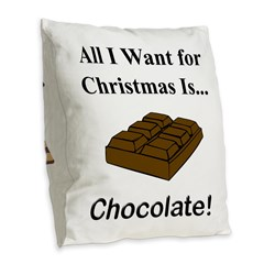 Christmas Chocolate Burlap Throw Pillow