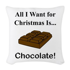 Christmas Chocolate Woven Throw Pillow