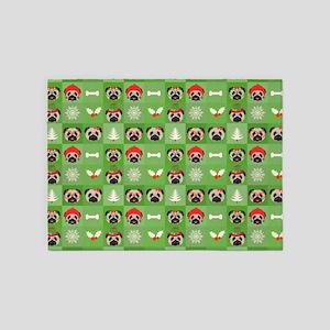 Christmas Pugs, Bones, Mistletoe 5'x7'Area Rug