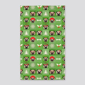 Christmas Pugs, Bones, Mistletoe 3'x5' Area Rug