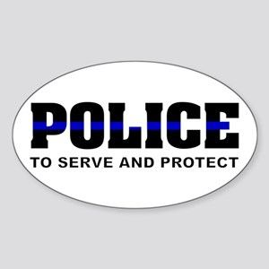 Thin Blue Line Oval Sticker