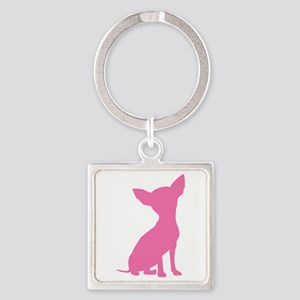 Pink Chihuahua - Square Keychain