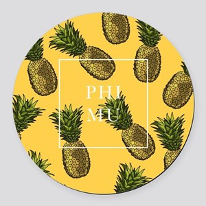 Phi Mu Pineapples Round Car Magnet
