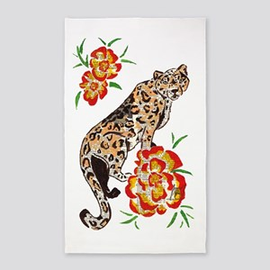 Snow Leopard in Summer 3'x5' Area Rug