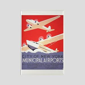 New York Municipal Airports Rectangle Magnet
