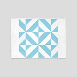 Ocean Blue Geometric Cube Pattern 5'x7'Area Rug