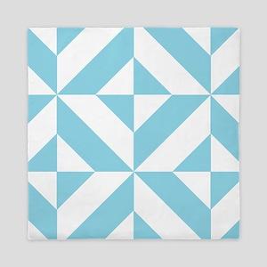Ocean Blue Geometric Cube Pattern Queen Duvet