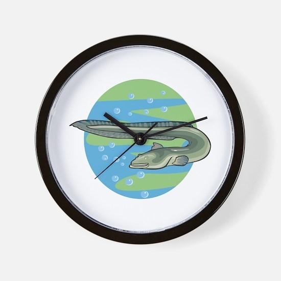Swimming Eel Design Wall Clock