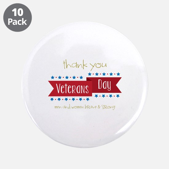 "Thank You Veterans 3.5"" Button (10 pack)"