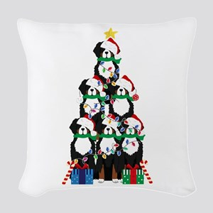Bernese Mt Dog Xmas Tree Woven Throw Pillow