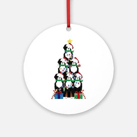 Bernese Mt Dog Xmas Tree Round Ornament