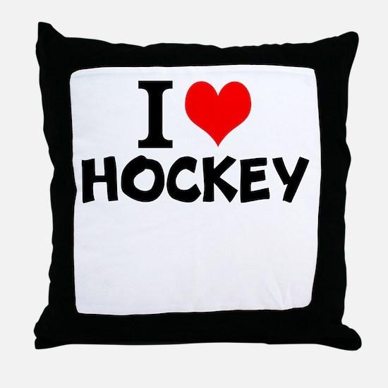 I Love Hockey Throw Pillow
