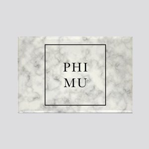 Phi Mu Marble Rectangle Magnet