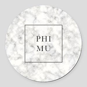 Phi Mu Marble Round Car Magnet