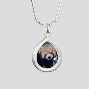 Red Panda Silver Teardrop Necklace