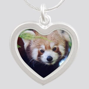 Red Panda Silver Heart Necklace