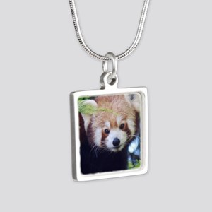Red Panda Silver Square Necklace