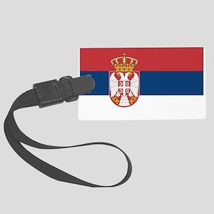 Serbia Flag Large Luggage Tag