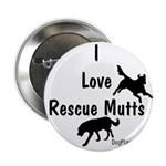"""I Love Rescue Mutts 2.25"""" Button (100 pack)"""