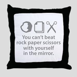 You Can't Beat Rock Paper Scissors Throw Pillow