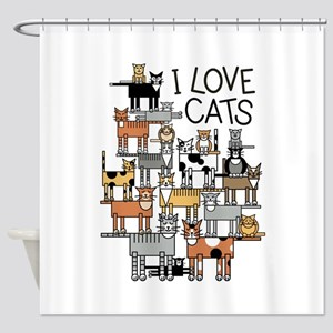 I Love Cats Shower Curtain