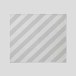 Pastel Gray Diagonal Stripes Throw Blanket